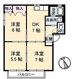 広島県福山市神辺町字湯野の賃貸アパートの間取り