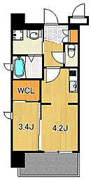 サヴォイグランデウォーターサイド 8階1DKの間取り