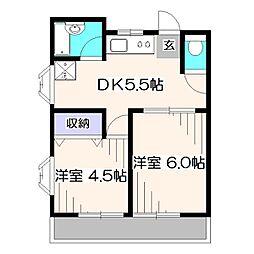 ドエル中座[2階]の間取り