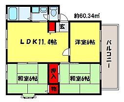 福岡県福岡市早良区有田5丁目の賃貸アパートの間取り