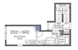 東京メトロ半蔵門線 押上駅 徒歩11分の賃貸マンション 3階ワンルームの間取り