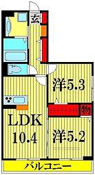埼玉県川口市安行藤八の賃貸アパートの間取り