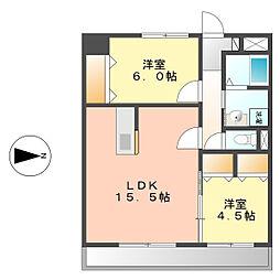 愛知県名古屋市西区比良4の賃貸マンションの間取り