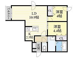 札幌市電2系統 石山通駅 徒歩4分の賃貸マンション 1階2LDKの間取り