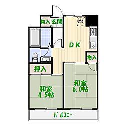 ファインクロス四番館[4階]の間取り