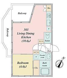 南田中1丁目・新築RCマンション 5階1LDKの間取り