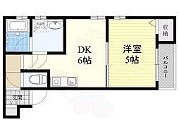 阪急宝塚本線 服部天神駅 徒歩12分の賃貸アパート 1階1DKの間取り