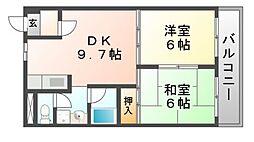ハピネス園田[4階]の間取り