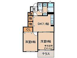京都府京都市伏見区横大路畔ノ内の賃貸アパートの間取り