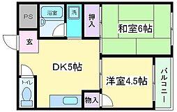 Osaka Metro御堂筋線 長居駅 徒歩10分の賃貸マンション 2階2DKの間取り