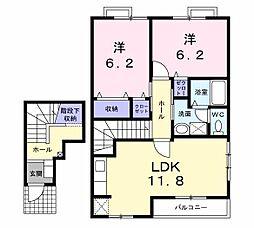 リバ−サイド 広徳[205号室]の間取り