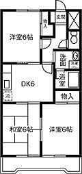 愛知県岡崎市上和田町の賃貸マンションの間取り