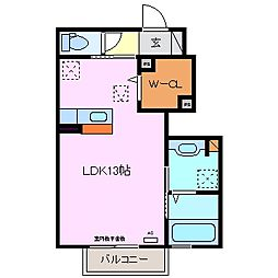 三重県四日市市西伊倉町の賃貸アパートの間取り