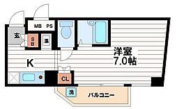 大阪府大阪市中央区農人橋3丁目の賃貸マンションの間取り