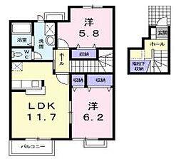 香川県高松市前田東町の賃貸アパートの間取り