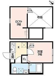 神奈川県相模原市中央区相生1丁目の賃貸アパートの間取り