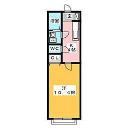 コーポ加納II[1階]の間取り