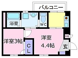 南海高野線 初芝駅 徒歩5分の賃貸マンション 1階2Kの間取り