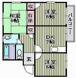 ハイツUNO[B102号室]の間取り