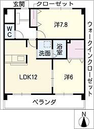 パークサイドK2[2階]の間取り