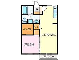 御殿山コーポ[2階]の間取り