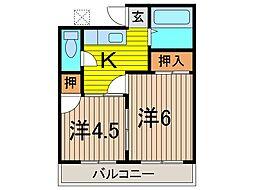 第2田中荘[201号室]の間取り