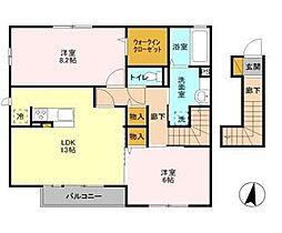 茨城県つくばみらい市紫峰ヶ丘5丁目の賃貸アパートの間取り
