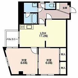 長野県長野市川中島町四ツ屋の賃貸アパートの間取り