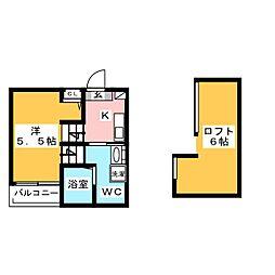 オークヴィラ日比野[1階]の間取り