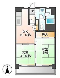 中駒九番団地3号棟[6階]の間取り