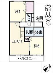 コーポ佳奈[2階]の間取り