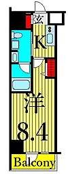 GENOVIA三ノ輪IISkygarden 3階1Kの間取り