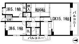 兵庫県西宮市丸橋町の賃貸マンションの間取り