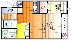 アベニール千里[3階]の間取り