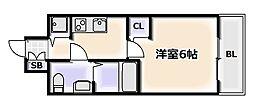 大阪府大阪市浪速区稲荷2丁目の賃貸マンションの間取り