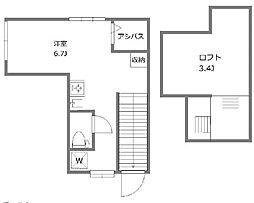 JR山手線 目黒駅 徒歩12分の賃貸アパート 2階ワンルームの間取り