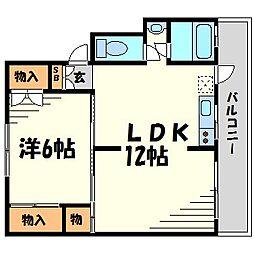兵庫県西宮市甲子園浜田町の賃貸マンションの間取り
