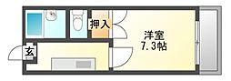 JR赤穂線 西川原駅 徒歩6分の賃貸マンション 3階1Kの間取り