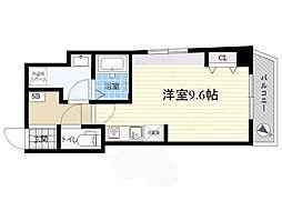 都営浅草線 浅草駅 徒歩8分の賃貸マンション 6階ワンルームの間取り