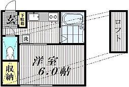 東京都世田谷区大原2丁目の賃貸アパートの間取り
