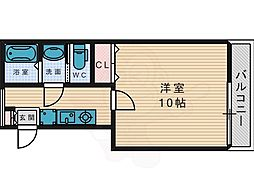 カーサ・ルチア宮之阪 1階ワンルームの間取り