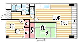 ドミール東鴻池[2階]の間取り