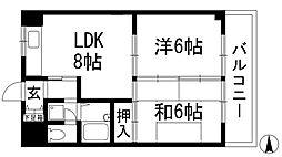 兵庫県伊丹市中野西3丁目の賃貸マンションの間取り
