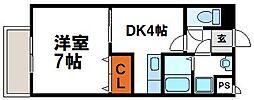 ARTHU-WIN.D.赤間 3階1DKの間取り