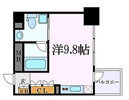 名古屋市営名城線 名城公園駅 徒歩7分の賃貸マンション 9階ワンルームの間取り