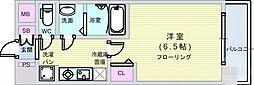 Osaka Metro堺筋線 恵美須町駅 徒歩6分の賃貸マンション 8階1Kの間取り