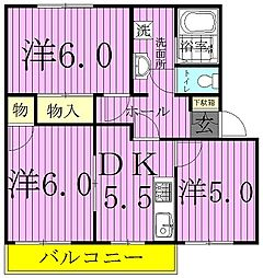 千葉県柏市篠籠田の賃貸アパートの間取り