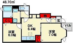 プリムローズB[1階]の間取り