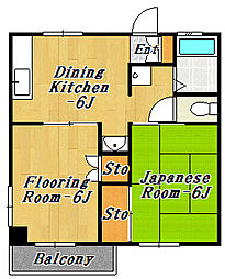 矢島ハイツ[2階]の間取り