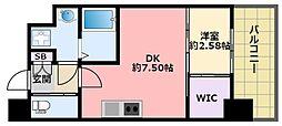 阪神本線 鳴尾・武庫川女子大前駅 徒歩6分の賃貸マンション 2階1DKの間取り